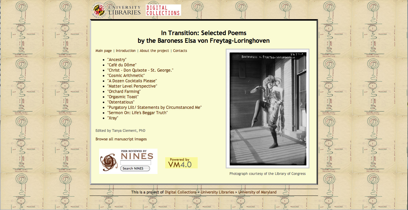 In Transition: Selected Poems by the Baroness Elsa von Freytag-Loringhoven
