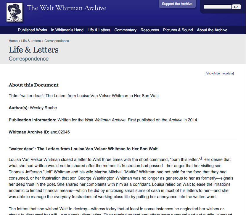 """walter dear"": The Letters from Louisa Van Velsor Whitman to Her Son Walt"
